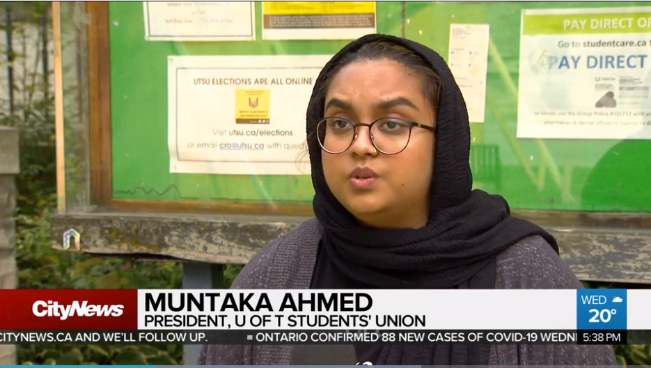 UTSU President on CityNews speaking out about the U of T reopening plans and lack of student consultation 2