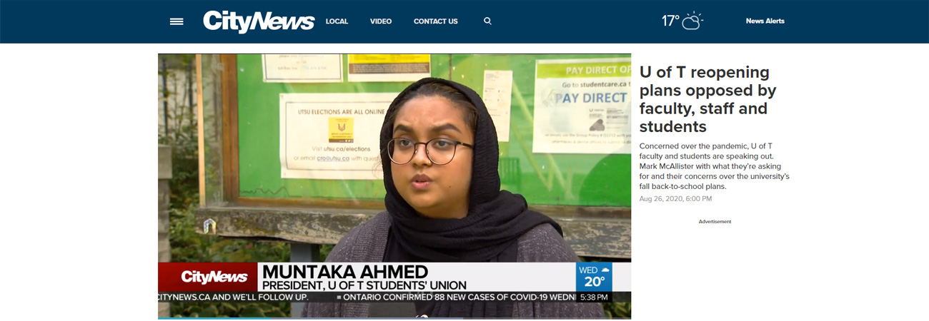 UTSU President on CityNews speaking out about the U of T reopening plans and lack of student consultation