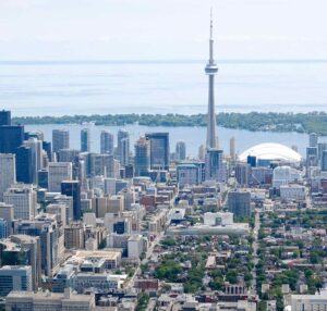 Aerial photo of U of T St George Campus that includes the lake and CN Tower
