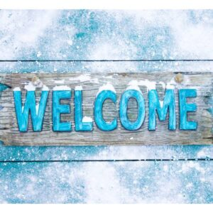 Welcome sign with snow