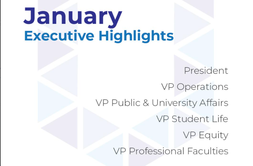 A White background with a pale version of the U from the UTSU logo in the background. It says January Executive Highlights and gives the Executive Committee titles