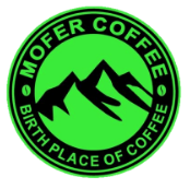 Mofer Coffee Logo, a black and green circle with mountain line art and the words Mofer Coffee Birth Place of Coffee