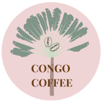 Congo Coffee Logo, a l=pink circle with a simplified illustration of a coffee plant and the words Congo Coffee