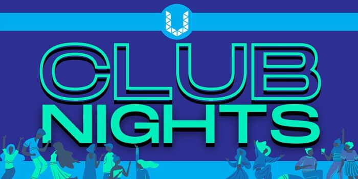 A Banner that reads Club Nights in turquoise text with a blue clack ground. Illustrations of people having a good time are found across the bottom.