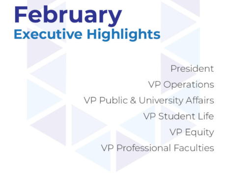 February Executive Hightlights in blue text on a white backgraopund with a light version of the UITSU logo U ij the background and a list of the Executive titless