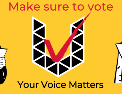 Make Sure to Vote Your Voice matters with the election version of the UTSU U logo - Black triangles and a red checkmark.