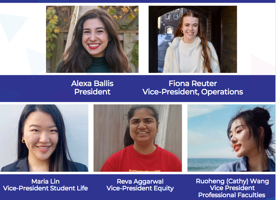Headshots plus names and titles of the Executive Committee: Alexa Ballis, President; Fiona Reuter, Vice-President, Operations; Maria Lin, Vice-President, Student Life; Reva Aggarwal, Vice-President, Equity; Ruoheng (Cathy) Wang Vice-President, Professional Faculties